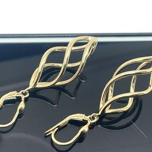 Jewelry - 14K Solid Yellow Gold Dangle Earrings Long Drop